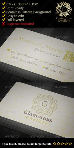 Fancy, elegant jewelry gallery business card. Easy to edit full layered document. Glamorous, classy looking suitable for weeding, engagements events. Arabesque ornament style. Download it here http://graphicriver.net/item/glamorous-jewelry-gallery-business-card/3285745?ref=mmounirf