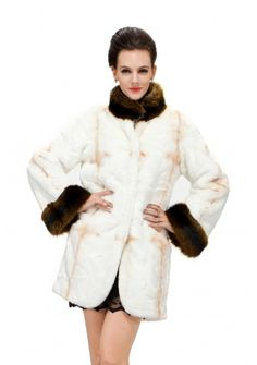 Katherine/faux white cross pattern fox fur with brown bunny fur collar and cuff/middle fur coat from www.messcabuy.com