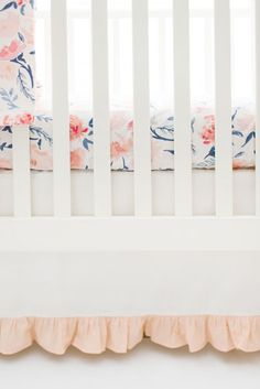 Floral Crib Bedding | Peach Baby Bedding | Girl Crib Bedding