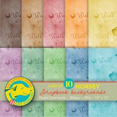 Digital Scrapbook Paper Pack for horse lovers, featuring: Walk, Trot, Canter, Gallop word art in rainbow colors. Digital backgrounds for scrapbook layouts. Scrapbook Background, Digital Backgrounds, Digital Scrapbook Paper, Pretty Horses, Handmade Items, Handmade Gifts, Hand Coloring, Paper Size, Word Art