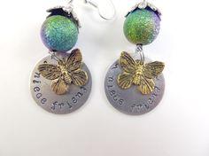 Hand stamped niece friend earrings by jewelryandmorebykat on Etsy