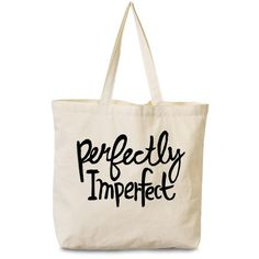 Perfectly Imperfect Tote (140 HKD) ❤ liked on Polyvore featuring bags, handbags, tote bags, cotton tote, tote purses, white tote handbags, cotton purse and cotton handbags