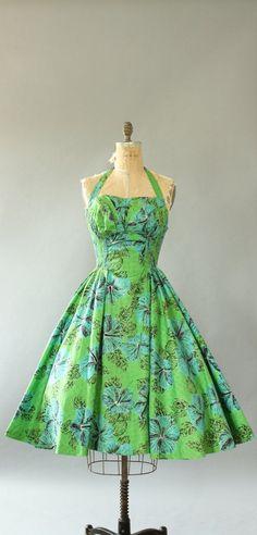 1950's Halter Dress with Shelf Bust | vintage 50s green + blue Hawaiian inspired print