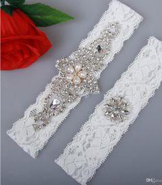 bf13951c6 Sexy Bridal Garters Lace Rhinestones Pearls Vintage Handmade Wedding Garter  Set 2017 New With Bridal Leg Garter Belt Beads Plus Size. Liga Branca ...