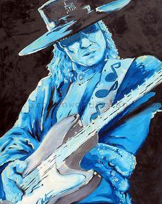 Stevie Ray Vaughn Original Painting Reproduction 11x14 Poster Print Rock n Roll