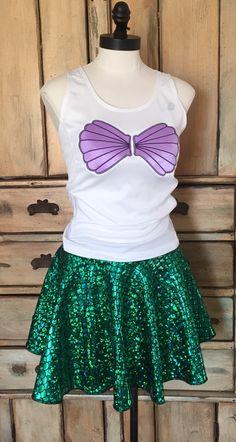 Complete ariel little mermaid  Running outfit custom skirt Muffin top free disney princess half marathon halloween vacation comic con s m l by suestevepat on Etsy https://www.etsy.com/listing/262894926/complete-ariel-little-mermaid-running