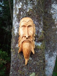 Wood tree spirit- green man- hand carved- present for Fathers Day- birthday gift-log cabin decor. $190.00, via Etsy.