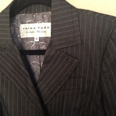 Trina Turk cropped blazer Gorgeous cropped Trina Turk blazer in graphite pinstripe with pewter metal ball buttons. Barely worn and in great condition. It's a perfect work blazer that easily transitions to a night out on the town. Trina Turk Jackets & Coats Blazers