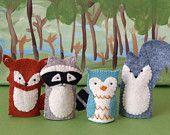 felt finger puppets, fox, raccoon, owl, squirrel, woodland, forest animals, children, toys, crafts, DIY