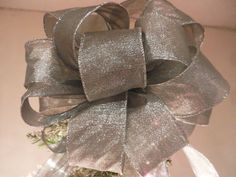 Large Silver Shimmer  Christmas Tree topper bow by creativelycarole on Etsy