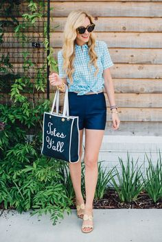Vichy blouse+navy shorts+golden sandals+navy and black tote bag. Summer outfit 2016