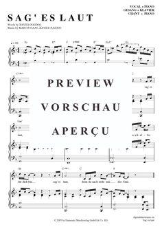 Sag es laut (Klavier + Gesang) Xavier Naidoo [PDF Noten] >>> KLICK auf die Noten um Reinzuhören <<< Noten und Playback zum Download für verschiedene Instrumente bei notendownload Blockflöte, Querflöte, Gesang, Keyboard, Klavier, Klarinette, Saxophon, Trompete, Posaune, Violine, Violoncello, E-Bass, und andere ...