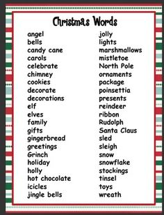 A list of Christmas words to use for writer's workshop or any writing activities. Xmas Games, Printable Christmas Games, Holiday Games, Christmas Party Games, Christmas Activities, Holiday Fun, Holiday Break, Christmas Traditions, Pictionary Word List