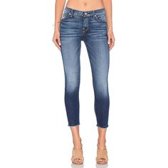7 For All Mankind The Ankle Skinny Denim ($198) ❤ liked on Polyvore featuring jeans, 7 for all mankind, faded jeans, frayed jeans, skinny jeans and faded blue skinny jeans
