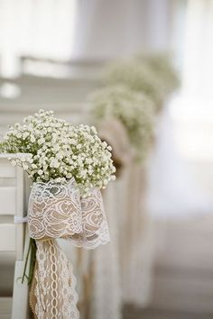 rustic wedding ceremony decor with babys breath bows / http://www.deerpearlflowers.com/rustic-wedding-details-and-ideas/3/