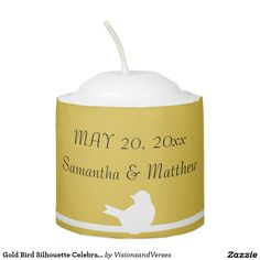 Gold Bird Silhouette Celebration Votive Candle