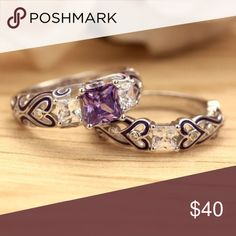 Coming Soon❣️ NWT Sterling Silver 925 fashion bridal ring set. Main stone lab created amethyst with cz crystals. Jewelry Rings
