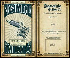 Business Card for Nostalgia Tattoo Company