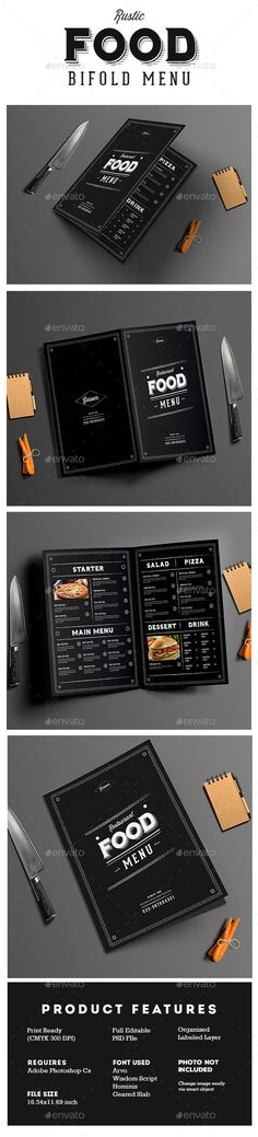 Rustic Bifold Restaurant Menu Template PSD. Download here: http://graphicriver.net/item/rustic-bifold-restaurant-menu/16337900?ref=ksioks