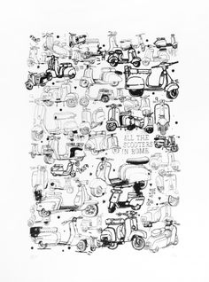 hardtofind. | All the scooters in Rome limited edition print