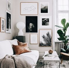 Beautiful collection of art on the wall.