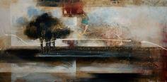 Los bellos árboles de Heather Haynes En su técnica, usa sobre todo pintura acrílica, integrando a veces sutiles estarcidos y algún texto; todas sus composiciones están selladas con esmalte.
