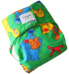 Sesame Street One Size Cloth Diaper with PUL Velcro - Newborn Toddler Boys Girls Gender Neutral
