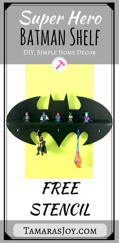 Build this easy DIY Batman shelf for a boys superhero bedroom with this free stencil & awesome tutorial. What a great Idea!