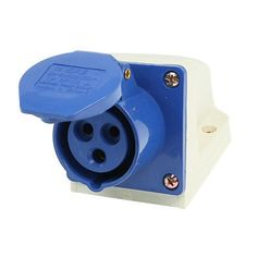 AC 220-250V 16A 2P+E IEC309-2 Panel Mount Industrial Socket Blue White