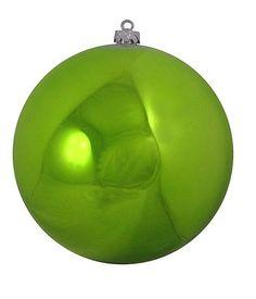 "Shatterproof Shiny Green Kiwi Christmas Ball Ornament 10"" (250mm)"