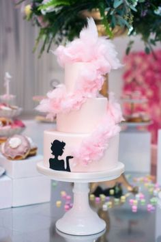 Three tiered pink cotton candy cake - Fancy Pufs celebrates their first birthday. Adorable for a birthday or bridal shower! Cotton Candy Wedding, Wedding Candy, Cotton Candy Cakes, Pink Cotton Candy, Beautiful Desserts, Beautiful Cakes, Fondant, 50th Cake, Barbie Cake
