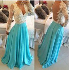 Long V-Neck Backless Prom Dress,Long Sleeves Prom Dress,Floor-Length Blue Evening Dress,Prom Dress For Juniors, PD0015