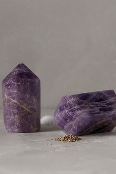 Adore how pretty and powerful these Amethyst Salt & Pepper Shakers are! Amethyst is good for clearing your head of clutter, so I hope the spices absorb that too!  Salt Away Stress!  #anthroregistry anthropologie.com