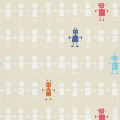 Reggie Robot Wallpaper - Neutral Multi (110533) - Harlequin All About Me Fabrics & Wallpapers Collection