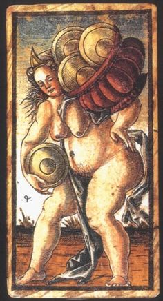 Italian Tarot Cards:  Four of Coins: Meaning of Four of Coins from the Sola Busca Deck:   Upright:   Financial hardship.   Reversed:   Unexpected assistance.   source: Italian Tarot/Sola Busca/Italy, c.1491