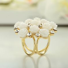 Aliexpress.com : Buy 18K Gold Plated Snow White Camellia Wedding Bouquet Flower Trio Scarf Ring Scarf Holder from Reliable buckle collar suppliers on OKA Jewelry  | Alibaba Group