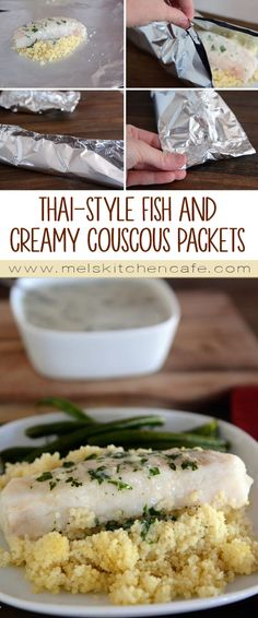 This Thai-style fish and creamy couscous packet meal is dreamy. The entire meal can be quickly made ahead and baked later.