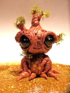 Sapling, little tree, handmade ooak clay sculpture painted with acrylics.