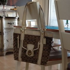 Authentic Coach Tote Bag Authentic, great condition brown coach bag with patent leather white straps Coach Bags Totes