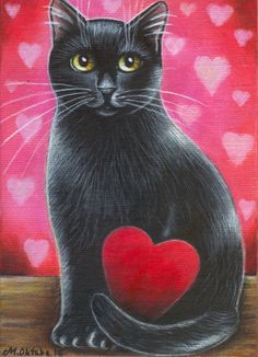 Caring for Cats – The Easy Way Cat Valentine, I Love Cats, Cute Cats, Image Foto, Black Cat Art, Black Cats, Gatos Cats, Cat Drawing, Animal Paintings