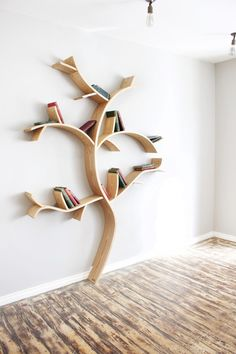 Homemade Bookshelves Constructed From Real Oak Resemble Trees by Dan Lee  Owner…