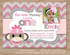 Sock Monkey Birthday Party Invitation - photo - Pink Gray Chevron - 1st 2nd birthday - any age - girl - PRINTABLE INVITATION DESIGN. $18.00, via Etsy.