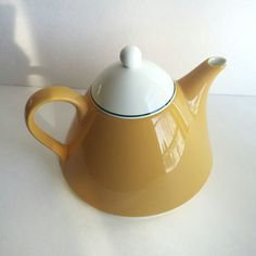 pagnossin yellow teapot, ceramic vintage teapot, italian home decor, small appliances