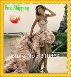 Free Shipping Sweetheart Ruffled Bling Sequins Feather Organza Short Front Long Back Prom Dresses With Beads And Crystals 2014