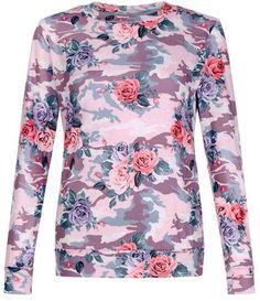 Cameo Rose Pink Floral Camo Print Top