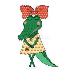 Illustration about Crocodile girl with closed eyes having flower in her hand. Cute alligator in a dress in peas on white background. Design for postcard and print. Illustration of creature, cute, alligator - 138483055 Crocodile Illustration, Diy Busy Board, Alligator Birthday, Rock Painting Ideas Easy, Closed Eyes, Ol Days, Quilt Making, Painted Rocks, Comic Art