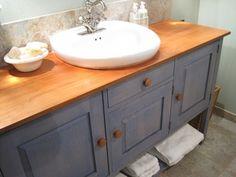 buffet turned bathroom sink cabinet