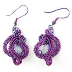"""O mie si una de nopti"" cu opalit Opal Earrings, Wire Wrapped Jewelry, First Night, Wire Wrapping, Flamingo, Tatting, Crochet Earrings, Handmade Jewelry, Purple"