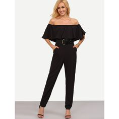 SheIn(sheinside) Black Off The Shoulder Pocket Ruffle Jumpsuit ($16) ❤ liked on Polyvore featuring jumpsuits, black, jump suit, off shoulder jumpsuit, ruffle jumpsuit, off the shoulder jumpsuit and off the shoulder ruffle jumpsuit
