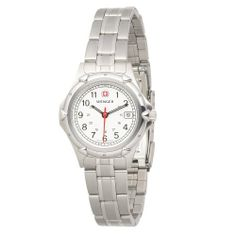 Wenger Women's 70209 Standard Issue White Dial Steel Bracelet Watch Wenger. $129.95. Wide flared ends for sweeping close to curbs and walls. Full sweep second hand. Comes with a metal presentation case. Dyed palmyra fill material. Three year warranty. Hardwood block. From the makers of the legendary Swiss army knife. Water-resistant to 330 feet (100 M)